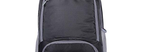 FakeFace Unisex Nylon Faltbarer Kompakter Reiserucksack Damen Herren Wasserdichter Rucksack für Sport Bergsteigen Reisen Camping Trekking Outdoor (Schwarz)